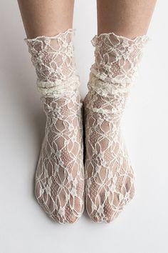 Women New Hezwagarcia Nylon Spandex Floral Mesh Sheer Lace Ivory Ankle Nylon Socks Hosiery