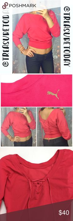 Puma Pink Batwing Lace Up Back Sweatshirt Excellent condition, like new. 3/4 sleeves , low back with lace up design. True to size, can fit medium too. Feel free to ask any question, I'm here to help! 🎉Offers welcome 🎉 Bundle 2 or more items and get %10 off instantly💕 all pictures are taken by me. Puma Tops Sweatshirts & Hoodies
