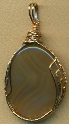 Agate Bronze Wire Wrap Pendant