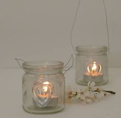 Two Mini Glass Heart Tea Light Holders