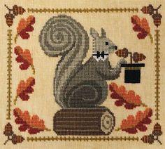 Squirrel cross stitch.