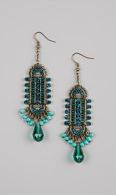 Pair with grey or yellow || Turquoise Beaded Art Deco Earrings