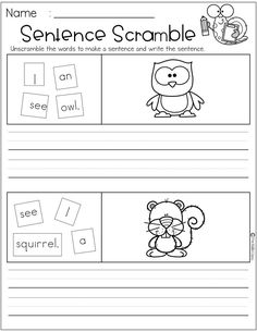 There are 4 pages of free sentence scramble worksheet in this packet. Students will practice writing and drawing. This packet is perfect for kindergarten and first grade students who are learning to read and write. First Grade Freebies, Kindergarten Freebies, Kindergarten Writing, Writing Sentences Worksheets, Sentence Writing, Preschool Learning Activities, Kids Learning, 1st Grade Writing, Whole Brain Teaching