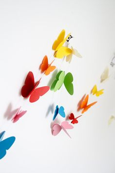 easy Butterfly garland rainbow paper garland nursery by PaperNotebook, Origami, Garland Nursery, Sprinkle Party, Butterfly Mobile, Rainbow Paper, Butterfly Decorations, Garland Wedding, Paper Quilling, Party Time
