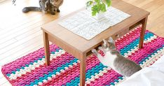 Japanese Embroidery Tiger Ravelry: Ami Cotton Striped Rug pattern by Pierrot (Gosyo Co. Crochet Doily Rug, Crochet Rug Patterns, Crochet Symbols, Crochet Circles, Crochet Cushions, Crochet Home, Crochet Yarn, Free Crochet, Crochet Stitches For Beginners