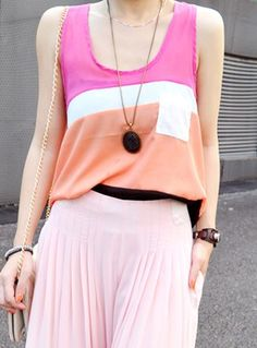 Pink Round Neck Sleeveless Color Block Chiffon Shirt