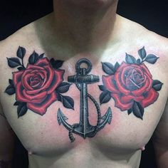 Rose Flowers With Anchor Guys Upper Chest Tattoo Design Ideas