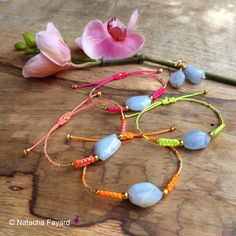Friendship macrame bracelets with blue chalcedony natural gemstones and gold miyuki seed beads.   © Natacha Fayard   #friendship #bracelet #macrame #chalcedony #blue #gold #miyuki #delica #neon #pink #yellow #orange #coral #etsy