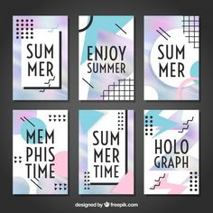 Summer memphis card set Free Vector