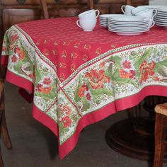 Amaryllis Tablecloths Are these for Texas cottages? When I Dream, Kettles, Tablecloths, Table Linens, Cottages, Dinnerware, Pots, Tables, Texas