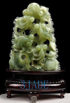 Natural  Xiu Jade / Serpentine Carving  Goldfish Statue /Sculpture: