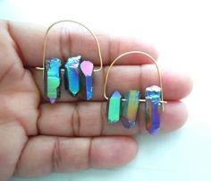 Rainbow Crystal Point Earrings  Boho Modern Hoop by NaturalGlam, $40.00
