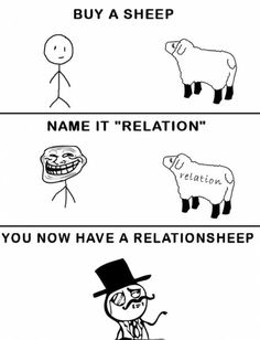 For people who think they 'need' a relationsheep.--Haha, this is so funny! Funny Relationship Quotes, Funny Quotes, Funny Memes, Meme Meme, Can't Stop Laughing, Laughing So Hard, Sheep Names, Favim, Just For Laughs