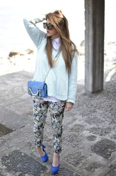 loose knit over white shirt + print pants.