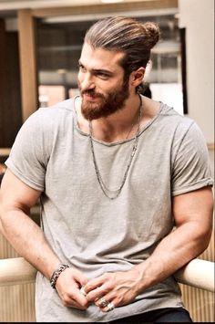 Ser Corraine - Fashion For Men Man Bun Hairstyles, Mens Hairstyles With Beard, Beard Styles For Men, Hair And Beard Styles, Long Hair Styles, Hipster Haircuts For Men, Gents Hair Style, Turkish Men, Turkish Actors