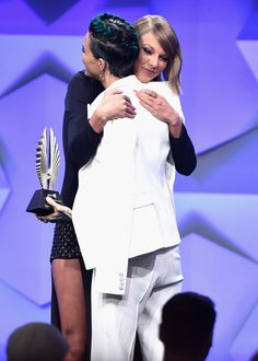 Taylor Swift & Ruby Rose from The Big Picture: Today's Hot Pics  The singer gives her friend a congratulatory hug onstage at the GLAAD Media Awards.