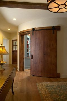 Curved barn door #interiors–good for a play room or office door.
