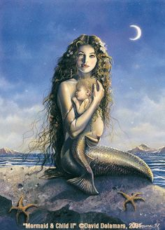 David Delamare is my favorite painter of mermaids in this century..smile..this one always takes my breath away because I am always birthing new ideas...