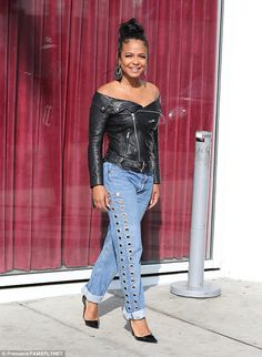 Quirky: Giant earrings weighed down her lobes, as she drew attention to her exposed shoulders Off Shoulder Jacket, Off The Shoulder, Christina Milian, Holey Jeans, Rock Chic, Celebs, Celebrities, Victoria, Black Hair
