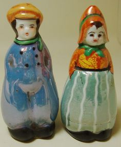 Vintage Noritake Pottery China Lustreware Dutch Boy Girl Salt and Pepper Shakers | eBay