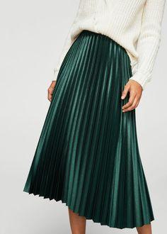 Metallic pleated skirt | MANGO