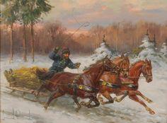 Leszek PIASECKI (1928-1990)  Sanie zimą olej, sklejka; 30,5 x 40 cm; sygn. l. d.: Leszek Piasecki