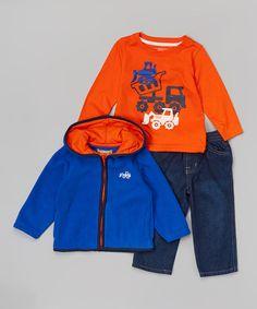 Royal & Orange Hoodie Set - Infant, Toddler & Boys