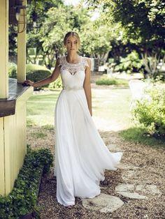 A-Line/Princess Sleeveless Jewel Chiffon Lace Floor-Length Wedding Dresses - Wedding Dresses