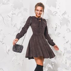 Long Sleeve Vintage Mini Velvet Dress - FashionandLove.com Vestidos Plus  Size 195f97b01f4c