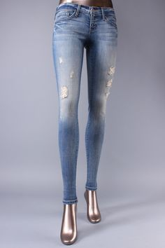 Flying Monkey Women Distressed Hand Wash Vintage Skinny Jeans.