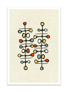 ABSTRAKT I  Giclee Print  Mid Century Modern Danish by Thedor, $24.00