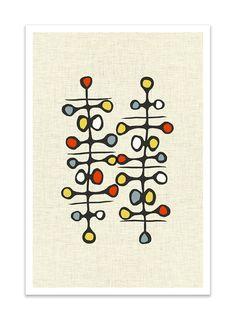 ABSTRAKT I  Giclee Print  Mid Century Modern Danish by Thedor, $24.00