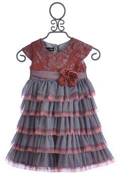 Isobella and Chloe Girls Chiffon Layered Dress in Coral Kiss