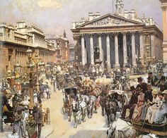 LOGSDAIL, William  English (1859-1944)_The Bank and Royal Exchange in London, 1887
