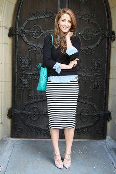 stripes tube skirt
