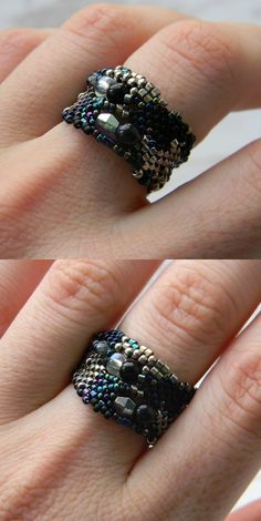 Ring made of Japanese delica seed beads. OOAK. Freeform peyote. Size - 8.5 (US)  -------More beaded rings from my shop you can see here:-------