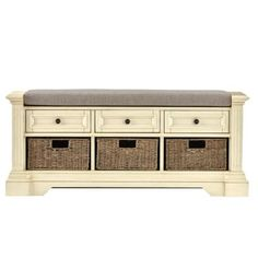 Home Decorators Collection Bufford Storage Bench in Rubbed Ivory-9635800440…