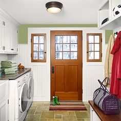 Multitasking laundry and mudroom - like the bench over the appliances - need front loading stuff tho