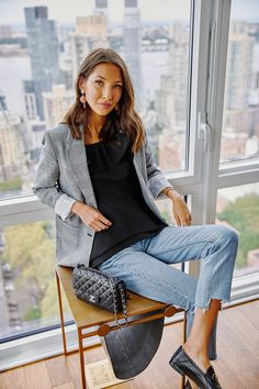 How to rock the casual chic look Fall Fashion Outfits, Work Fashion, Spring Outfits, Autumn Fashion, Women's Fashion, Fashion Trends, Blazer Outfits Casual, Classy Outfits, Smart Casual Blazer
