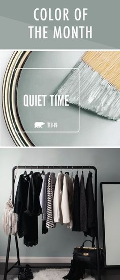We like to reset and refresh at the start of a new year. That's why the calming gray hue of Quiet Time is the perfect choice for the BEHR Color of the Month. We love pairing this neutral shade with black, white, and blue accent colors to create a sleek, minimalist design scheme. #DIYHomeDecorLove