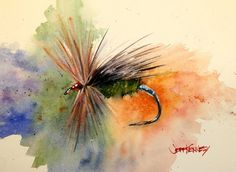 The painting above is the Blue Butt Caddis Emerger. This painting was commissioned by Tom and was one of his favorite go to trout flies.