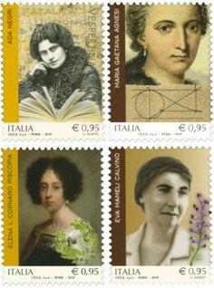 In tempo di posta elettronica Elena Cornaro Piscopia, Maria Gaetana Agnesi, Ada Negri ed Eva Mameli ricordate in un francobollo. Riconoscimento tardivo ma fortemente simbolico