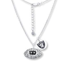 Oakland Raiders Football Necklace Sterling Silver