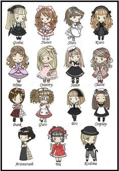 Different styles of wearing Lolita dresses