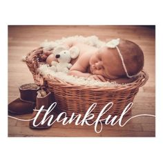 Baby Birth Announcement Thankful Custom photo Postcard - New Year's Eve happy new year designs party celebration Saint Sylvester's Day