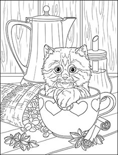 Coffee Please Kitty Coloring page Preschool Coloring Pages, Dog Coloring Page, Free Adult Coloring Pages, Doodle Coloring, Free Printable Coloring Pages, Colouring Pages, Coloring Books, Kitten Drawing, Cat Quilt