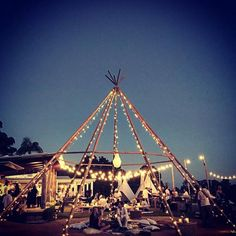 "When the sun goes down and the lights come on the ""naked tipi"" takes on a whole new life. Great pic taken by the amazing coordinator Rachael on dusk for Angela and Matt. For all tipi enquiries . The Grove Byron Bay, Bodas Boho Chic, Boho Wedding, Dream Wedding, Estilo Tropical, Beach Bonfire, Great Pic, Le Far West, Festival Wedding"