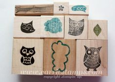 Owl stamp set carved by Carrie Rhoades