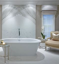 WEBSTA @ sophiepatersoninteriors - Bathrooms are one of the trickiest and most important rooms to get right in a house- there is no tweaking of the design as you could do with a room scheme if you want to change it up in a couple of years. It's so important the design is timeless as it's a big investment. My top tip is to stick to very simple colour palettes and clean lines. Go for the largest slabs you can afford for both the floor and the walls- book matched marble for the walls is the…
