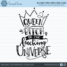 New in my #etsy shop: SVG & DXF design - Queen B of the F'ing Universe - cut file for die cutting machines (Cricut and Silhouette) https://etsy.me/2DO7ez7 #decal #design #shirt #snarky #etsyaddicts #Queen